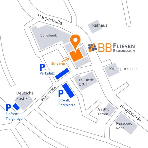 Anfahrt Parkplätze - BB Fliesen und Raumdesign